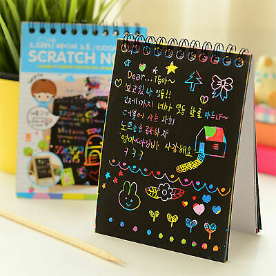 Kids Magic Rainbow Scratch Art Drawing Paper Painting Notebook Educational Toy