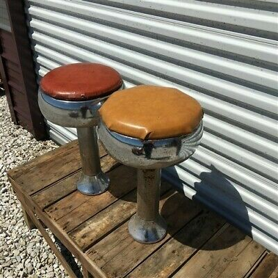 2 Retro Bar Diner Stools, Chrome Soda Fountain Store Mid Century 1950s Stools