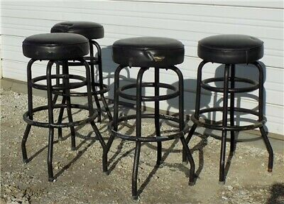 4 Retro Bar Diner Stools Chrome Soda Fountain Store Mid Century 50s 60s 70s I