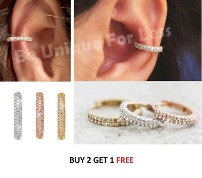Bold Crusted Crystal Diamante Small Nose Ring Hoop Helix Tragus Cartilage