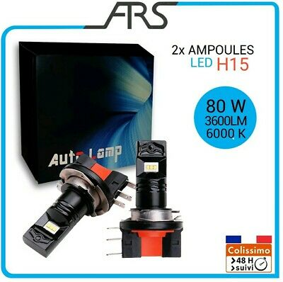 2x Ampoules LED   H15  phare feux route 80W 3800LM 6000K NEUF