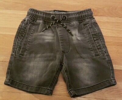 boys black soft denim shorts with pockets and pull string age 6 from next