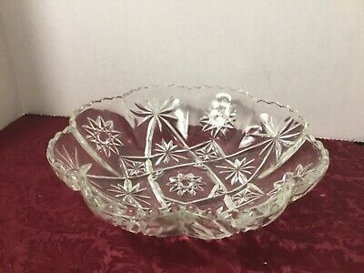 ANCHOR HOCKING EAPC  EARLY AMERICAN PRESSED GLASS PANELLED BOWL  Star of David