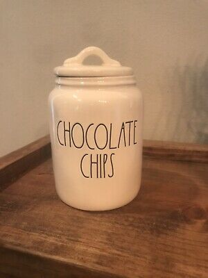 New Rae Dunn CHOCOLATE CHIPS Baby Sized Large Letter LL Canister RARE