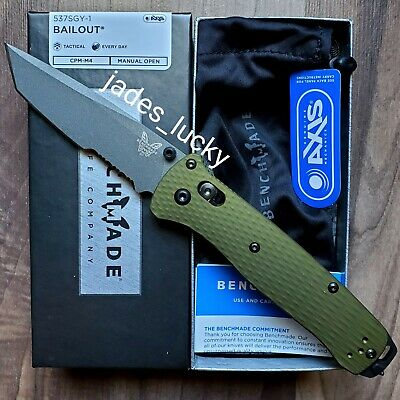 Benchmade 537SGY-1 Bailout - M4 Tanto Blade Partial Serrated - EDC Hiking Knife