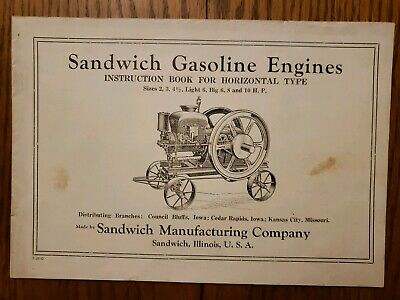 Sandwich Gasoline Engine Illinois Instruction Book Original