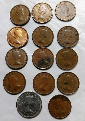 Canada 1953 To 1964 One Cent Copper Coins Queen Elizabeth Ii Young Head Lot +5 C