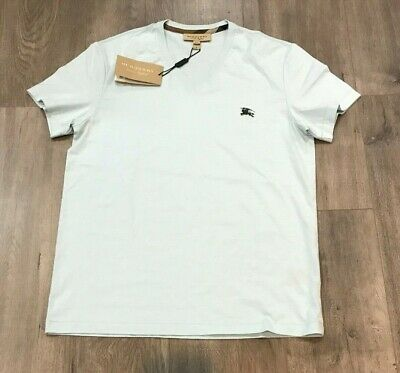 NWT Authentic Burberry 'Jadford' V-neck Logo T-Shirt in Pearl Blue Size(s): M, L
