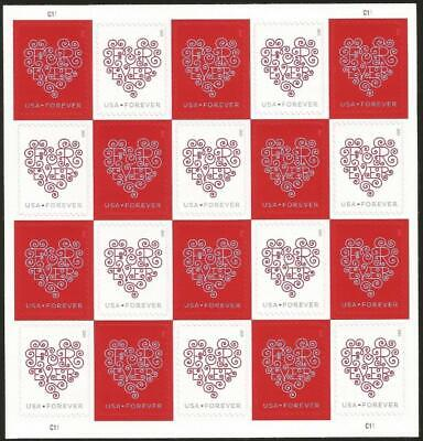 #4955 Hearts Forever Mint Sheet (20) 2015 Love Stamp - Forgery Vf Mnh