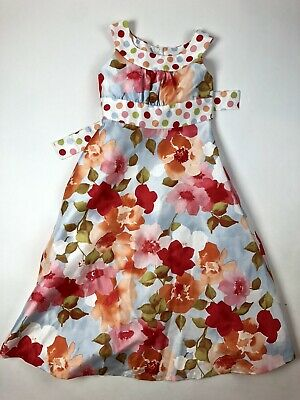 Bonnie Jean 7 Girls Dress Long Fancy Pink Blue Floral Polka Dots Belted
