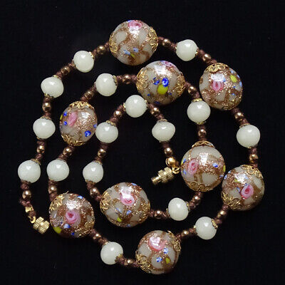 Old Venetian Murano Art Glass Bead Necklace Knotted Hand Painted Wedding Cake