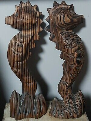 Vintage Large Carved Wood Seahorse Wall Decor Tiki Witco Style