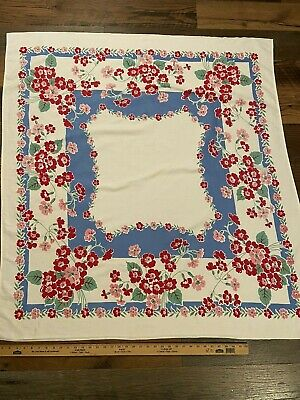 Vintage Linen Cotton Tablecloth~Red Pink Floral With Blue Border~50X48~No Stains