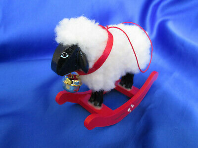 "Vtg Swedish? Sheep White 4"" Ornament W/Bell Red Wood Rocker Unused Exclnt Cndtn"