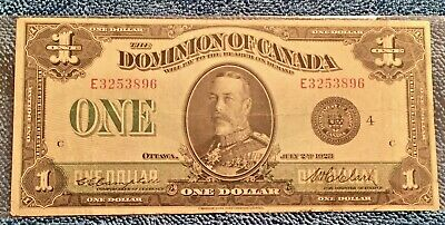 1923 $1 DOMINION🇨🇦 CANADA LARGE NOTE SERIES E GROUP 4 Check Letter A EF/AU-
