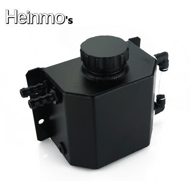 Universal 1L Aluminium Oil Catch Can Tank Reservoir with Drain Plug 1000ML Black
