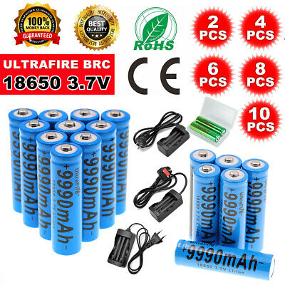 10x 18650 3.7V 9990 mAh Rechargeable Batteries with Charger for Toys Torch