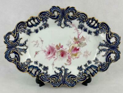 Antique Royal Worcester~Grainger and Co Dish c1897 Hand Painted~Roses~Gold Gilt