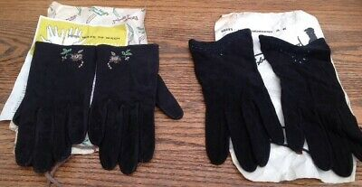 VINTAGE Pair Of FRENCH SUEDE Embroidered BLACK GLOVES & Pair DENT'S Black Suede