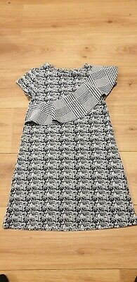Next Girl's Black &White Short Sleeve Dress With Frill Age 7