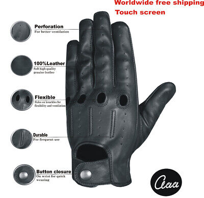 Mens Classic Driving Gloves Genuine Real Lambskin Aniline Leather Ventilated