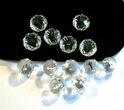 Vintage Lot of 13 Loose Clear Crystal Faceted Beads 15mm Jewelry Making