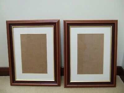 """TWO WOODEN PICTURE/ PHOTO FRAMES  19"""" x 15 """" -GLASS FRONT / CREAM MOUNT"""