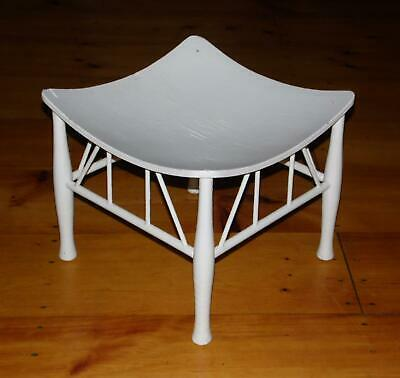 Vintage White Painted Thebes Stool Arts and Crafts Egyptian Revival Stool