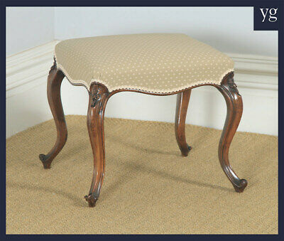 Antique English Victorian Solid Walnut Upholstered Dressing / Piano / Foot Stool