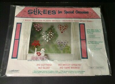 Stik-EES Valentine Hearts Red White Pink Purple Window Clings  Reusable NEW