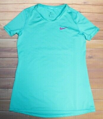Nike Dri-Fit Pro Cool Short Sleeve Athletic Shirt Top Girls Large Teal 819730
