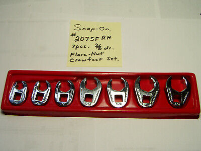 """Snap-on 7 pc 3/8"""" Drive 6-Point SAE Flank Drive® Flare Nut Crowfoot Wrench Set"""
