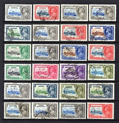 EMPIRE KGV 1935 SILVER JUBILEE GOOD TO FINE USED ODDS x 24 STAMPS CAT £36