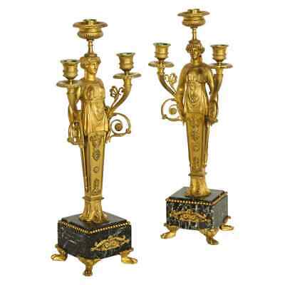 Pair of French Ormolu Bronze and Verde Antico Marble Three-Light Candelabra