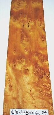 Real Wood Veneer 4 X Maple Burrs For Crafts,Furniture,Restorations,Marquetry