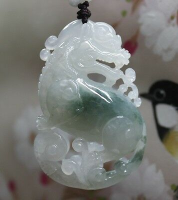 "Certified Natural ""Grade A"" Untreated Icy Green Jadeite JADE Big Pi-Xiu Pendant"