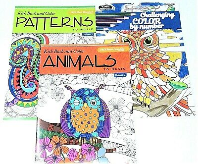 3 Adult Coloring Books set lot #147 ~ Patterns #2 ~ By Number ~ Animals #2