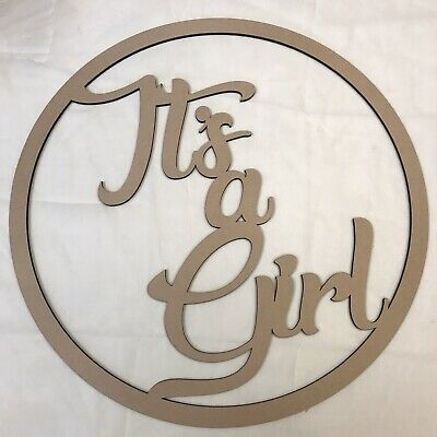 30cm Oh Baby Hoop Ring MDF Wall Sign Baby Shower Nursery Decoration