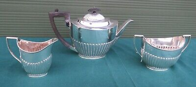 Antique 3-Piece Sterling Silver Tea Set, Reeded Decoration, Hallmarked 1891