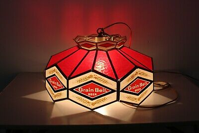 Vintage Grain Belt Beer Light UP Ceiling Sign Plastic Stained Glass Look Red