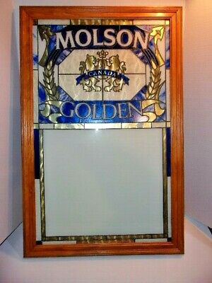 1989 Molson Golden Beer Stained Glass Message Board Sign Dry Erase