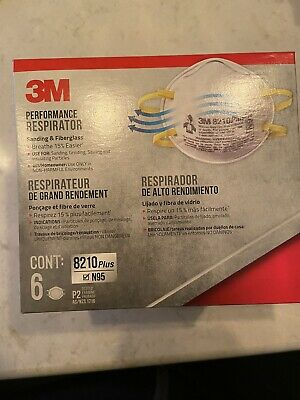 3M 8210 Plus N95 Performance Respirator - 6 Pk Protection Fast Global shipping