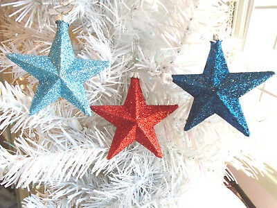 Red Navy Blue Stars Glitter Ornaments Tree Patriotic Fourth of July 4TH