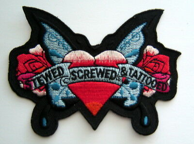"""STEWED SCREWED & TATTOOED with Heart Butterfly & Roses Biker PATCH 3 3/4"""" x 3"""""""