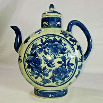 Vintage Large Chinese Blue & White Porcelain Moon Wine Ewer Teapot