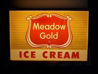 Vintage Lighted Meadow Gold Ice Cream Hanging Sign Milk Dairy Advertising *read*