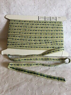 Lemon & Blue Woven Floral Braid. 15mm X 3 Metres. New Old Stock