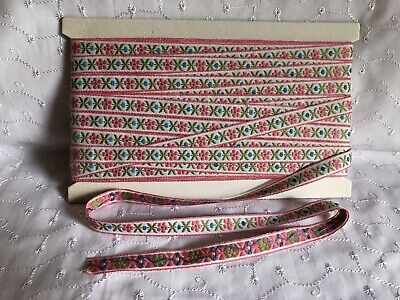 Vintage Woven Pink & White Daisy Braid. 13mm X 3 Metres. New Old Stock