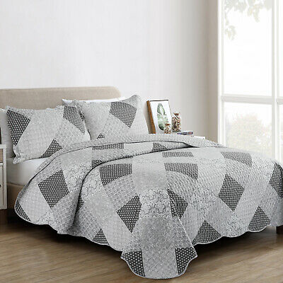 Grey Quilted Patchwork BedSpread Throw Single Double King Printed Bedding Set