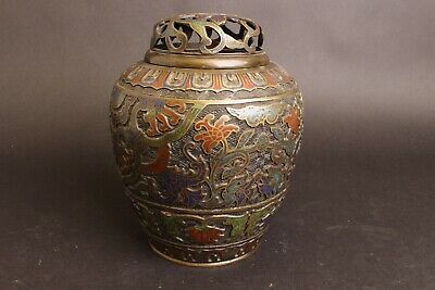 Very nice Chinese Heavy Bronze Vase, Cloisonné, 19thC or earlier, Top !!
